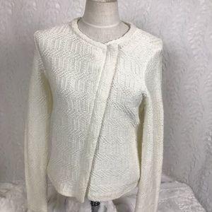 LOFT ivory cream asymmetrical zip knit sweater Sm